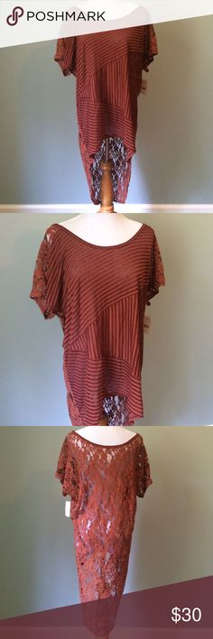 Sheer Free People Top Burnt orange free people top. Completely sheet with a long lace back. Wear layered or over a swimsuit. Size medium. Free People Tops