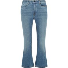 Alexander Wang Cropped mid-rise flared jeans ($320) ❤ liked on Polyvore featuring jeans, light blue, button-fly jeans, blue jeans, cropped jeans, medium rise jeans and mid rise flare jeans