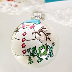 Snowman Ornament, personalized