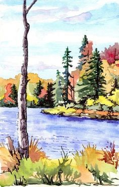 Trojan Lake ~ Catskills, NY / watercolor sketch