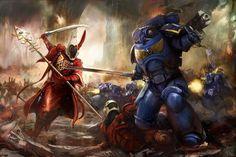 Warhammer & AoS: Art of War's photos Warhammer 40k Art, Warhammer Fantasy, Dark Eldar, Eldar 40k, Ultramarines, High Elf, Angel Of Death, The Grim, Geek Art