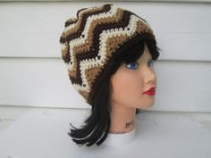 Ready to ship  A modern UNISEX beanie hand crocheted in a pretty chevron pattern .  Very cute beanie Great accessory for any time of the year, Warm