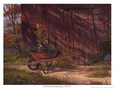 old red wheelbarrow