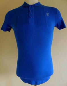 FERRARI Polo Shirt BLUE Mens SMALL S Sz Size LOGO Crest COTTON Elastane OFFICIAL #Ferrari #PoloRugby