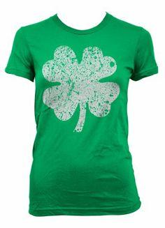 Cybertela Big Faded Four Leaf Clover Junior Girls T-shirt Faded Design Tee (Kelly Green Medium)