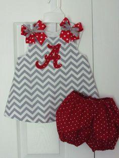 Chevron A-line Dress with red/white polka dot diaper cover Gameday Alabama Bama Roll Tide Football Collegiate Cheerleader