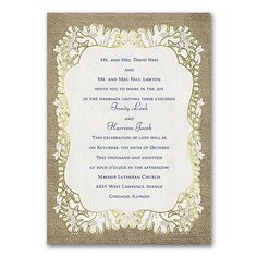Burlap Glam - Photo Invitation - Gold. Available at Persnickety Invitation Studio.