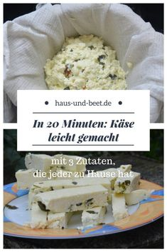 Käse selber machen mit 3 Zutaten in 20 Minuten - Haus und BeetThanks elamahler for this post.Make cheese yourself in just 10 minutes. Cheese recipe to make cheese, make cheese yourself without rennet and with rennet, vegetarian, cheese made f# bed Cheese Recipes, Raw Food Recipes, Seafood Recipes, Snack Recipes, Cooking Recipes, Make Cream Cheese, How To Make Cheese, Food To Make, Vegetable Drinks