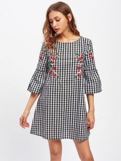 Fluted Sleeve Blossom Embroidered Gingham Dress