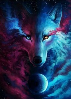 Where Light and Dark Meet - Signed Fine Art Giclee Print - Wall Decor - Fantasy Wolf Galaxy Painting by Jonas Jödicke - Today Pin Anime Wolf, Artwork Lobo, Wolf Artwork, Wolf Spirit, Spirit Animal, Fantasy Kunst, Fantasy Art, Tier Wolf, Galaxy Wolf