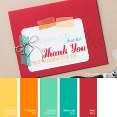 Daffodil Delight, Pumpkin Pie, Coastal Cabana, Bermuda Bay, Real Red #stampinupcolorcombos