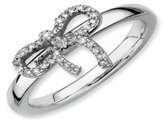 White Gold over Sterling Silver Diamond Bow Stack Ring (Available online at Gemologica.com)