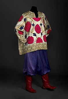 ¤ Ballets Russes costume by Natalia Goncharova.  Costume for an Ivan c.1920s  Tunic: silk, cotton, metallic thread; trousers: acetate, cotton, elastic; boots: leather  Tunic: Woven tape brown on fawn: ROSE SCHOGEL/Inc/31 West 56th ST/PARIS NEW YORK; Boots: Stamped under arch: ANELLO & DAVID