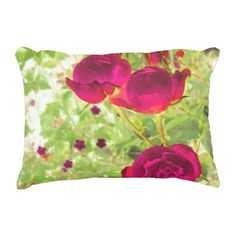 three roses accent pillow