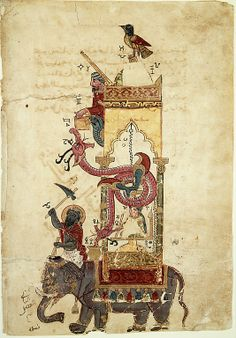 """The Elephant Clock"""", Folio from a Book of the Knowledge of Ingenious Mechanical Devices by al-Jazari"""