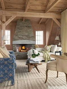 Fireplace--Swedish-inspired living room. Designer: David Netto. housebeautiful.com. #living_room #cottage #rustic #vintage