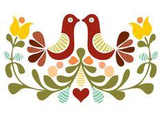 Vector folk art design Art Print.  Love the colors.