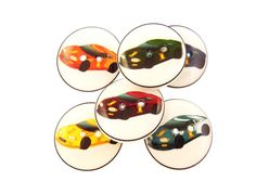 6 Race Car Buttons. 3/4 or 20 mm Sports Car by buttonsbyrobin
