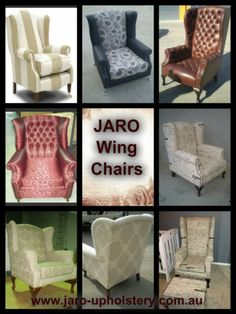 Just a few wing chair options at JARO.   Custom made to suit our clients requirements. Australian made in Melbourne. www.jaro-upholstery.com.au