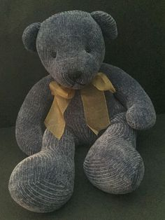 Pier 1 Blue Corduroy Teddy Bear Plush Stuffed Animal Weighted Bottom Decorative  | eBay
