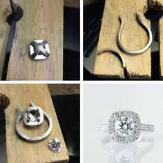 From the workshop, creating Maggie and Jason's halo engagement ring. #harlequinjewellers #engagementring #workshop