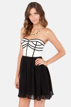Chic Squad Black and Ivory Strapless Dress at LuLus.com! $42