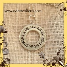 Hand stamped sterling silver donut