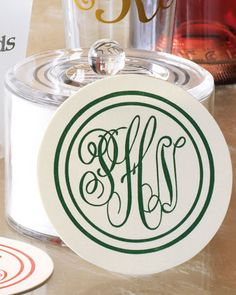 monogrammed coasters. love these!