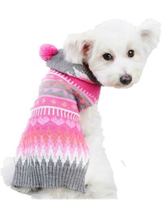 Moolecole Puppy Dog Christmas Knitted Sweater Clothes Pet Winter Knitwear Warm Hoodie Coat * Remarkable product available now. : Dog sweaters