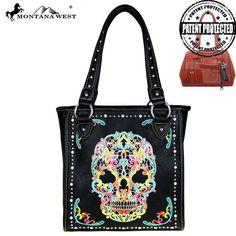 Sunlome Dead Skull Pattern Handbags For Women Girls PU Leather Shoulder Tote Bag