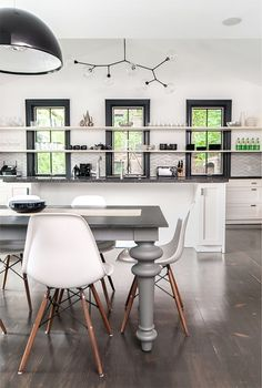 Kitchen with open shelves. Love it, don't know if I would want all open shelves but would be a different idea for future kitchen