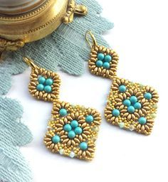 Bead Tutorial Amarante earrings pattern with by 75marghe75 on Etsy