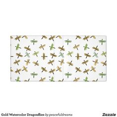 Gold Watercolor Dragonflies Vinyl Binders