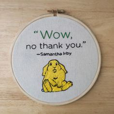 EmbroideREAD with Sam Irby's Wow, No Thank You. | Knopf Doubleday