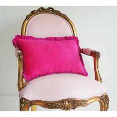 Pink Velvet Ruffles Cushion - French Bedroom Cushion