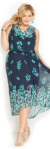 Avenue Plus Size Navy Leaf Print Dress