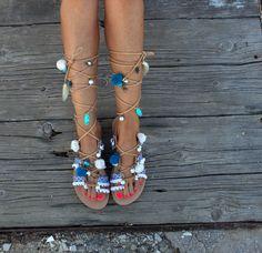 "Tie Up Gladiator Sandals Greek Sandals Semi Precious Stones Swarovski Pom Pom Boho Sandals ""Wave"""