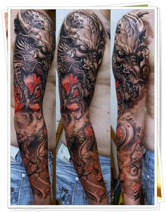 Really Cool Full Sleeve Arm Tattoo - Best Full Arm Sleeve Tattoos For Men: Cool Sleeve Tattoo Designs and Ideas Asian Tattoo Sleeve, Full Arm Sleeve Tattoo, Full Sleeve Tattoo Design, Dragon Sleeve Tattoos, Japanese Sleeve Tattoos, Best Sleeve Tattoos, Body Art Tattoos, Tattoo Sleeves, Tattoo Japanese