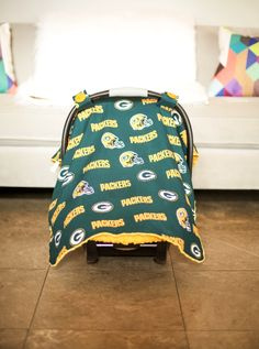 Baby Car Seat Camouflage NFL Licensed Green Bay Packers Carseat Canopy