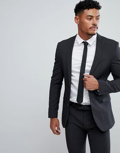 0163f5cc408dc ASOS Super Skinny Suit Jacket In Charcoal - Gray Asos, Strój, Moda, Kurtki