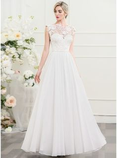 A-Line/Princess Scoop Neck Floor-Length Chiffon Wedding Dress (002107547)