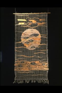 """weftwarp: """" Tadek Beutlich, Moon. 1963. Woven ramie and camel hair with insertions of honesty seeds, x-ray film and charred wood veneer """""""