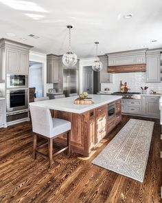 gray and wood kitchen