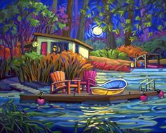 Artwork by artist Greta Guzek, represented by the West End Gallery. Canadian Artists, Canadian Painters, Graphic Art Prints, Cottage Art, Puzzle Art, Art Themes, Beautiful Drawings, Whimsical Art, Artist Art