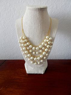 """2 Broke Pearls Statement Necklace inspired by the """"Caroline"""" Pearl Necklace on 2 Broke Girls on Etsy, $26.49"""