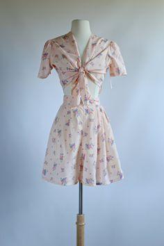Vintage 1940s Rayon 2 piece Romper Set NOS ~ Vintage 40s Rayon Pajama Set ~ So Cute! by xtabayvintage on Etsy