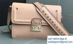 Valentino Cavana Mini Calfskin Shoulder Bag Apricot2017