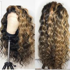 Hairstyles tinte Wavy wig, Honey Blonde highlights wig, Lace Frontal wig, Custom Made Frontal Wig, Big Waves Wig Styles, Curly Hair Styles, Natural Hair Styles, Natural Curls, Frontal Hairstyles, Weave Hairstyles, Wedding Hairstyles, Pretty Hairstyles, Short Hairstyles