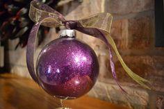 LARGE Glass Purple Glitter Christmas Ornament