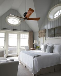The neutral palette in this master bedroom is perfectly soothing. The ocean views and beach-front balcony are a bonus. - Traditional Home ® / Photo: Colleen Duffley / Design: Tammy Connor